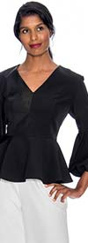 Rose Collection RC090-Black - Womens V-Neck Peplum Scuba Top With Puff Cuff Sleeves