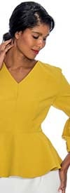 Rose Collection RC090-Mustard - Womens V-Neck Peplum Scuba Top With Puff Cuff Sleeves