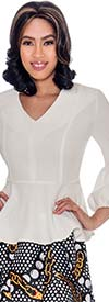 Rose Collection RC090-White - Womens V-Neck Peplum Scuba Top With Puff Cuff Sleeves