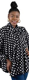 Rose Collection RC225 - Womens Long Sleeve Polka Dot Top With Bow Neckline