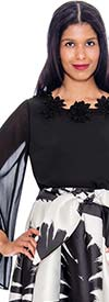 Rose Collection RC310-Black - Womens Sheer Angel Sleeve Top With Floral Neckline Accent