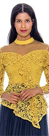 Rose Collection RC605-Gold - Sheer Yoke Ladies Lace Top With Asymmetrical Peplum Design