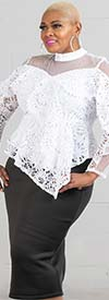 Rose Collection RC605-White - Sheer Yoke Ladies Lace Top With Asymmetrical Peplum Design