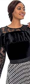 Raquel 1160 Ladies Longsleeve Velvet & Lace Top With Ruffle Detail