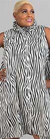Step in Style AN20-621SR - Womens Zebra Print Ruffle Collar Swing Tunic Top