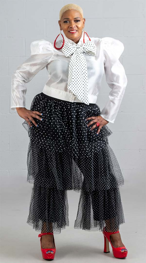 Soul Line T1019-White - Puff Sleeve Womens Top With Large Polka Dot Bow Accent