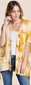 Vision Apparel T3661 Womens Tye Dye Fringe Cardigan Shrug Top