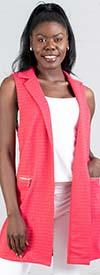 Yushi Moda 1335 Ladies Tunic Vest Top With Notch Lapels