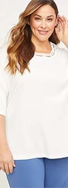 Catherines T80371W-White - Elbow Length Sleeve Womens Stretch Top With Strapped Neckline Detail