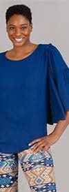 DG2 1901-Blue - Womens Three-Quarter Length Wide Sleeve Top