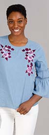 DG2 1902-Light-Denim - Womens Flared Sleeve Top With Floral Embroidered Detail