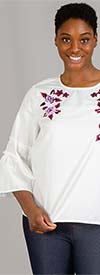 DG2 1902-White - Womens Flared Sleeve Top With Floral Embroidered Detail