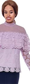 Rose Collection RC910-Purple - Womens Sheer Long Sleeve Top With Pearl Accents