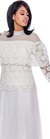 Rose Collection RC910-White - Womens Sheer Long Sleeve Top With Pearl Accents
