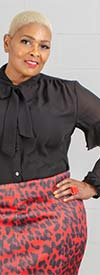 Antthony 15232-Black - Tie Collar Top With Camisole And Lace Inset Sleeves
