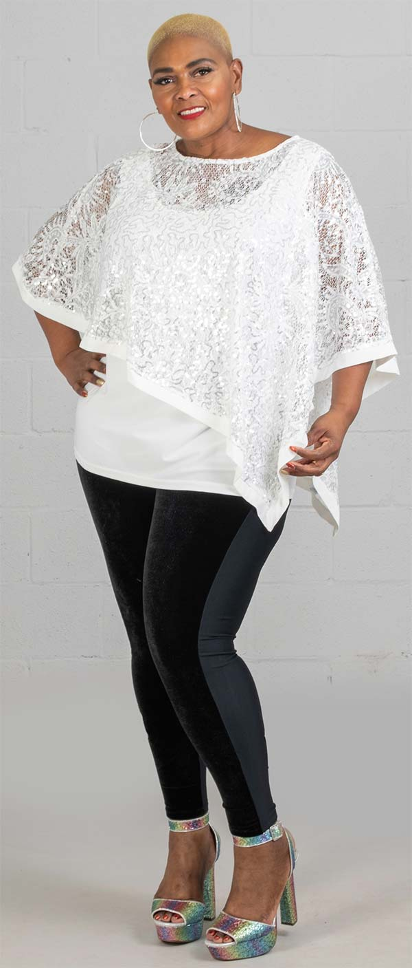 Joan Boyce 654132 - Womens Sequin Popover Shawl Top With Cami