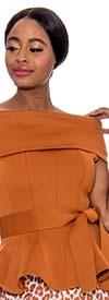 Raquel 1044-Cinnamon - Womens Off-Shoulder Portrait Style Collar Peplum Scuba Top