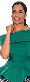 Raquel 1044-Green - Womens Off-Shoulder Portrait Style Collar Peplum Scuba Top