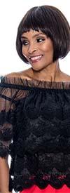 Raquel 1092-Black - Ruffled Off-Shoulder Design Sheer Lace Womens Top