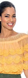 Raquel 1092-Gold - Ruffled Off-Shoulder Design Sheer Lace Womens Top