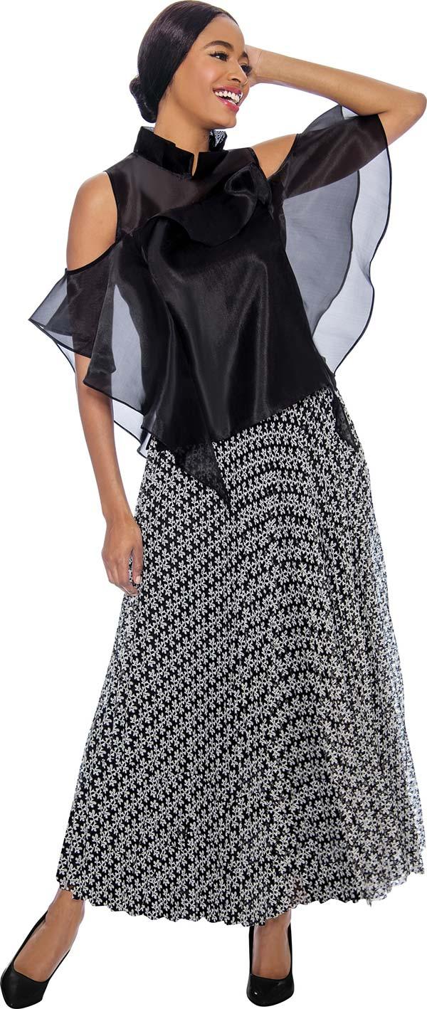 Raquel 1123-Black - Cold Shoulder Ribbon Flyaway Design Womens Top