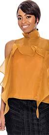 Raquel 1123-Mustard - Cold Shoulder Ribbon Flyaway Design Womens Top