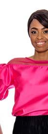 Raquel 1124-Fuchsia - Sheer Yoke Design Womens Puff Sleeve Top