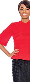 Raquel 1127-Red - Three-Quarter Sleeve Peplum Top With Ruffle Trim