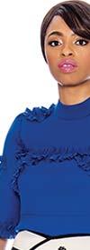 Raquel 1127-Royal - Three-Quarter Sleeve Peplum Top With Ruffle Trim