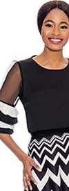 Raquel 1137-Black - Pleated Tier Sheer Sleeve Design Womens Top