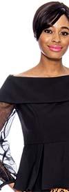 Raquel 1156-Black - Off-Shoulder Portrait Style Collar Mesh Sleeve Womens Top