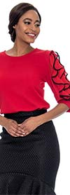 Raquel 1174-Red - Two Tone Ruffle Sleeve Design Womens Top