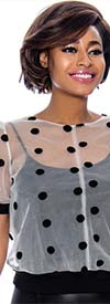 Raquel 1217 Womens Short Sleeve Sheer Layer Polka-Dot Top