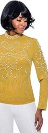 Raquel 1220-Green - Long Sleeve Womens Top Embellished With Pearl Beads