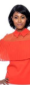 Raquel 1230-Orange - Ladies Sheer Pleated Capelet Style Top