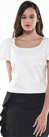 Why Dress-T190066-Off White - Round Neckline Puff Sleeve Womens Top