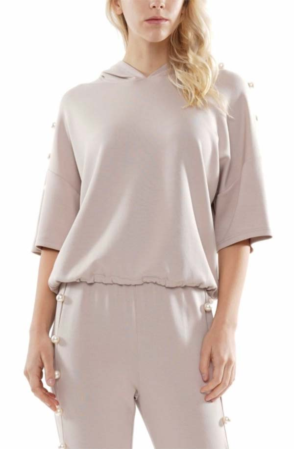 Why Dress-T200876-Taupe - Hooded Pullover Top Embellished With Pearl Beads