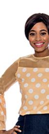Raquel 1077-Gold - Womens Mesh Yoke Tiered Bell Sleeve Polka Dot Top