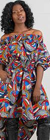 KaraChic - 7285-510 - Ladies African Print High-Low Off Shoulder Tunic