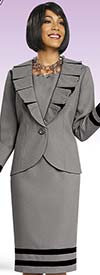 BEN-11450 Ladies Pleated Lapel Dress & Jacket Set