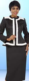 BEN-11574 Womens Skirt Suit With Peplum Jacket