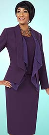 BEN-11587 Three Piece Womens Skirt Suit With Cascading Lapels