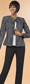 BEN-11612 Pant Suit For Women With Multi Directional Striped Jacket