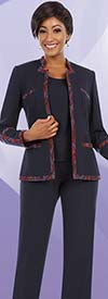 BEN-11616 Womens Pant Suit With Multi Color Trimmed Star Collar Jacket
