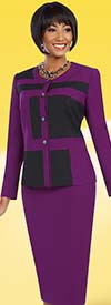 BEN-11619 Two Piece Color Block Jacket & Skirt Suit
