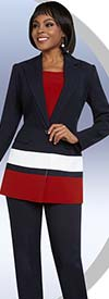 BEN-11657 Womens Tri-Color Pant Suit With Notch Lapel Jacket