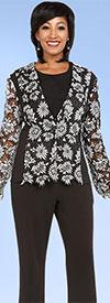 CAS-18342 Womens Pant Suit With Floral Applique Top