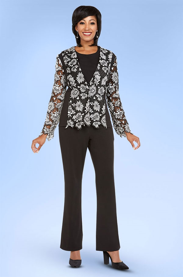 CAS-18342 Womens Pant Suit With Floral Applique Top
