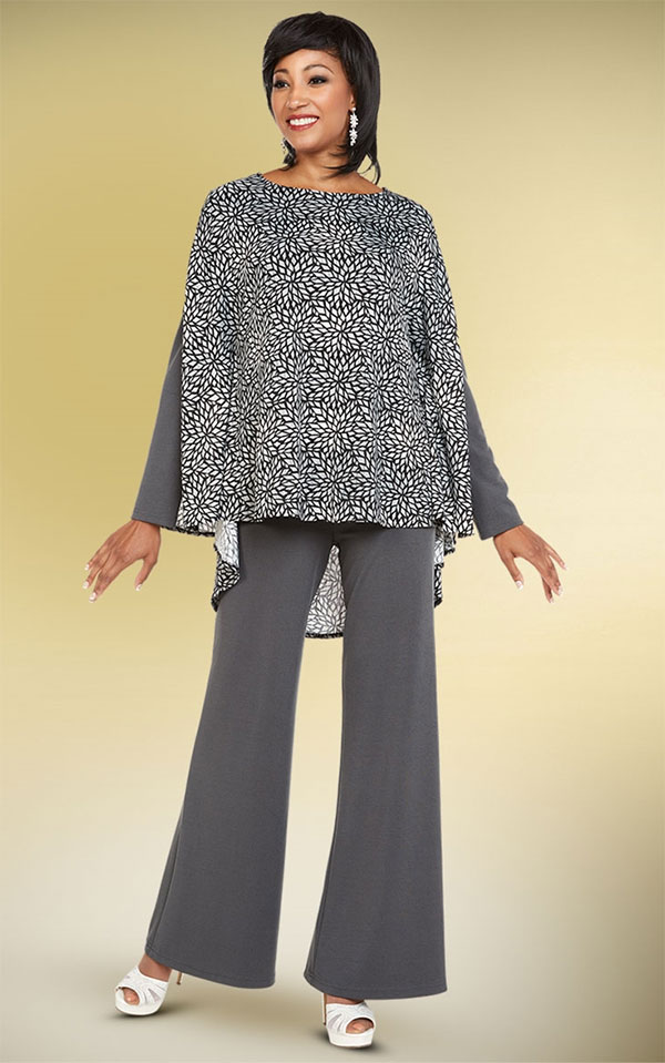 CAS-18350 Womens Pant Suit With Print Design Top