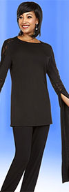 CAS-18360 Womens Pant Suit With Extended Angel Sleeve Design Top